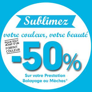 -50% sur votre prestation Mèches, Balayage, Tie & Dye pour l'achat d'un forfait coloration