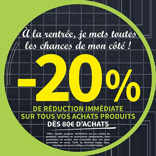 20% de réduction immédiate sur tous vos achats produits dès 80€ d'achats